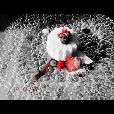モノクロ×赤い果実