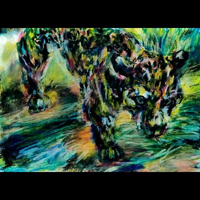 川を渡るジャガー