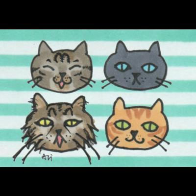 猫ちゃんのゆるフェイスイラスト