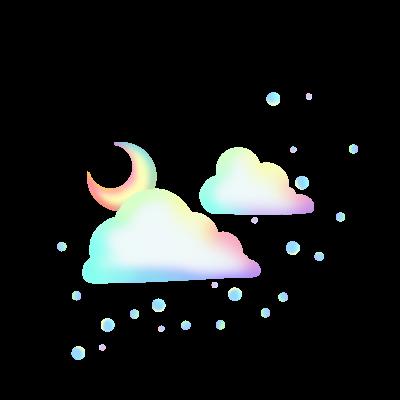 雲と月ふわふわ