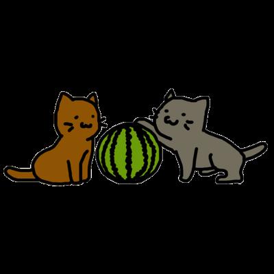 スイカと猫