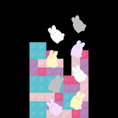 カラフルなブロックとウサギ