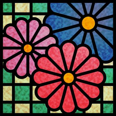 菊×市松(和柄ステンドグラス風)