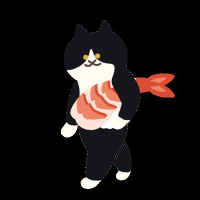 【中】海老の握り寿司を機嫌よく持ち運ぶ猫