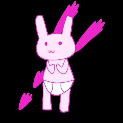ウサギパンツくん バックプリント