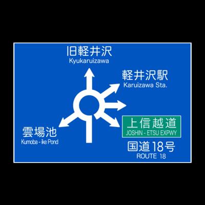 軽井沢六本辻ラウンドアバウト標識