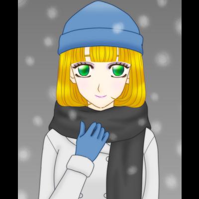 青いニット帽の少女