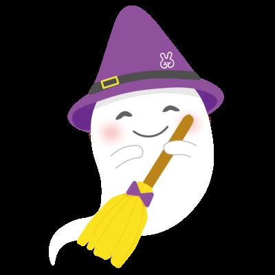 ハロウィン  おばけ ほうき 紫