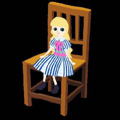 フランス人形が座ってる