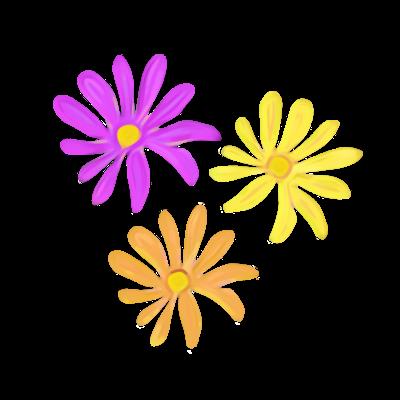 三色の花々