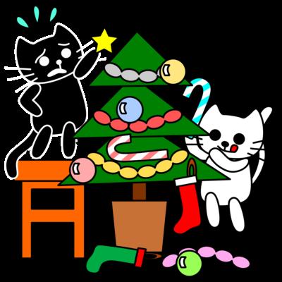 たまとクロとクリスマスツリー