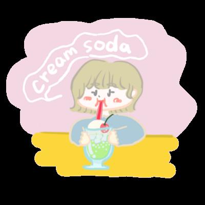 クリームソーダ飲み子ちゃん🍨