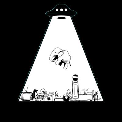 UFOに連れ去られるゾウ