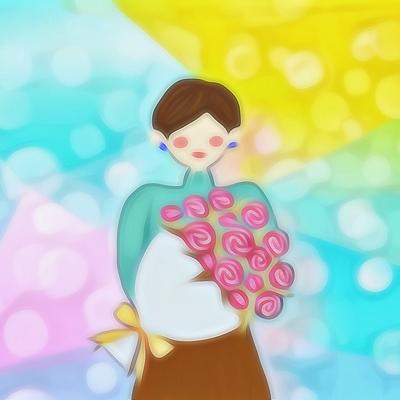 ショートカットとバラの花束