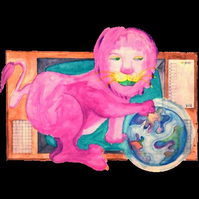 ピンクのライオン