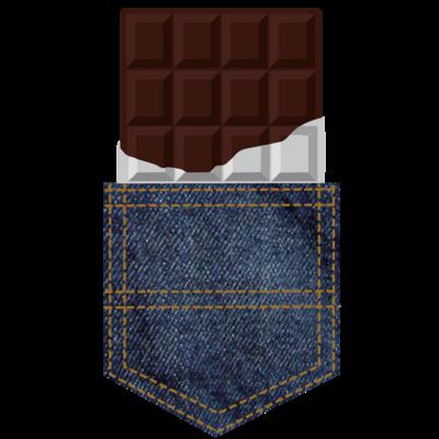 チョコレートインデニムポケット