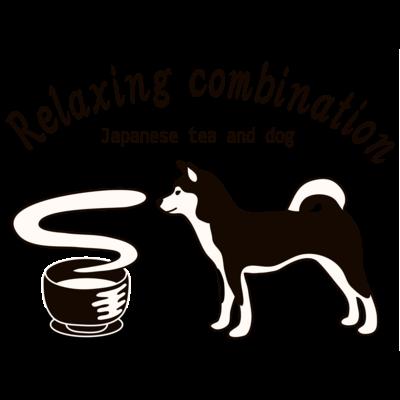 日本の犬とお茶(モノトーン)