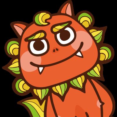 太陽サンサン、オレンジ色の沖縄のシーサー!