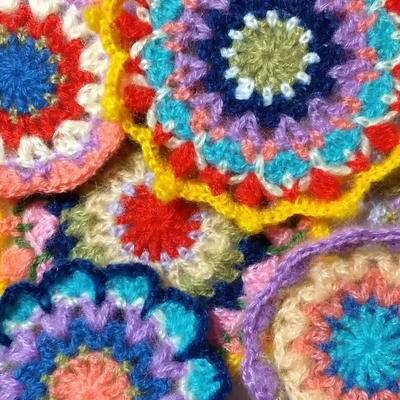 モヘア毛糸 サイケデリック手編み花柄 カラフル