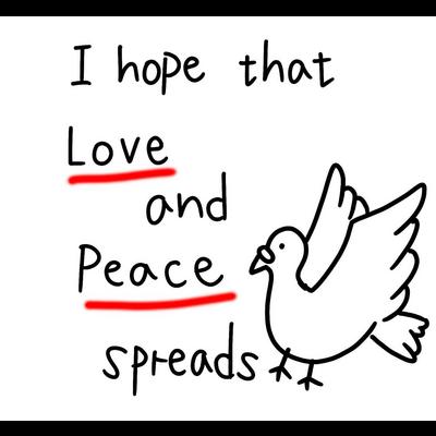 愛と平和(赤)