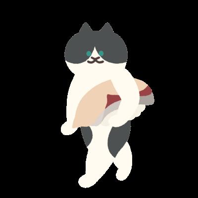 【大】はまちの握り寿司を前のめりに運ぶ猫