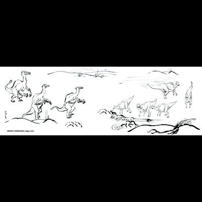 墨絵風恐竜画