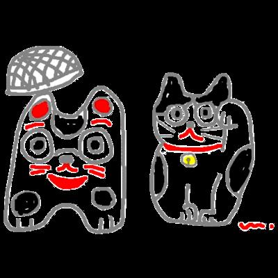 籠犬と招き猫