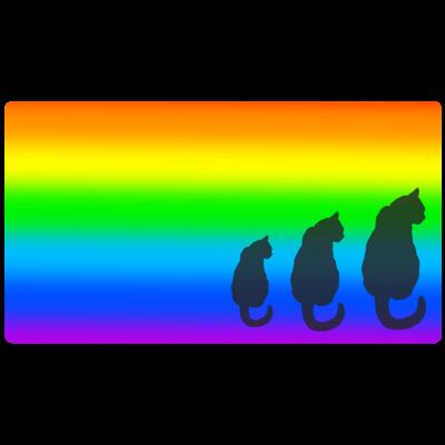 虹色背景の猫シルエット