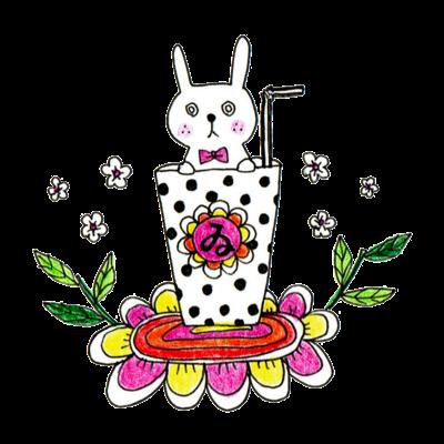 うさぎと花のティータイム