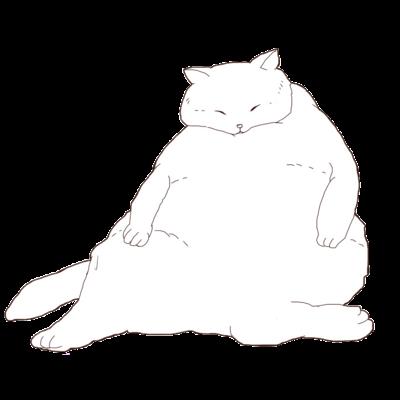 おデブ白猫の日向ぼっこ