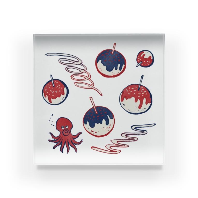 Akane Yabushita SUZURI Shopの【日本レトロ#20】たこ焼き Acrylic Block