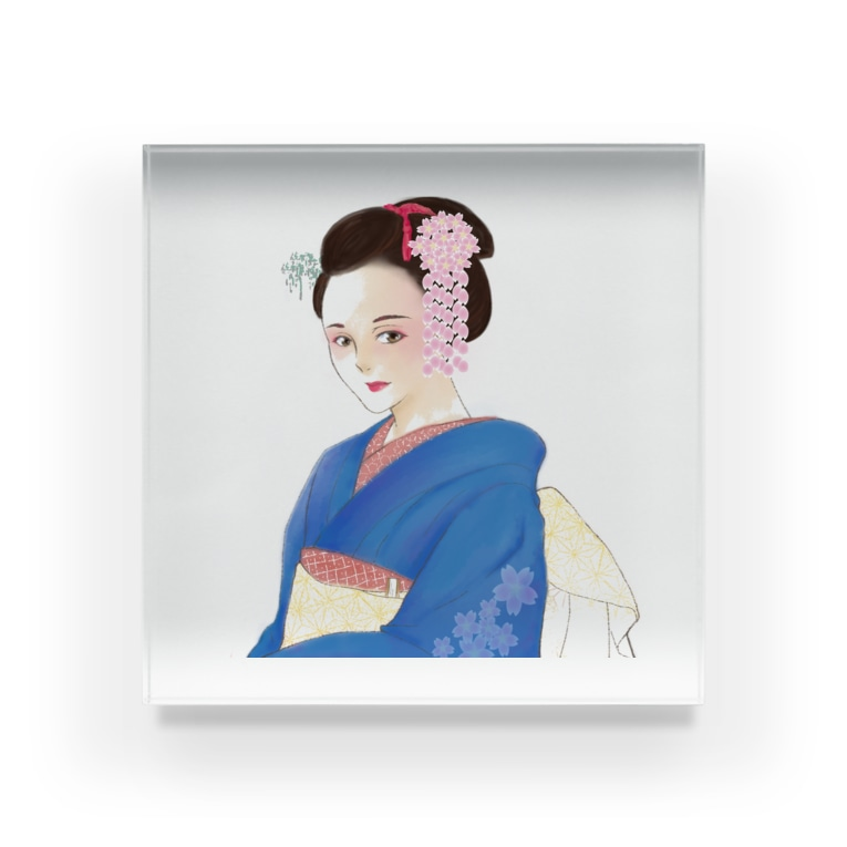 TK-marketの着物美女 Tシャツ Acrylic Block