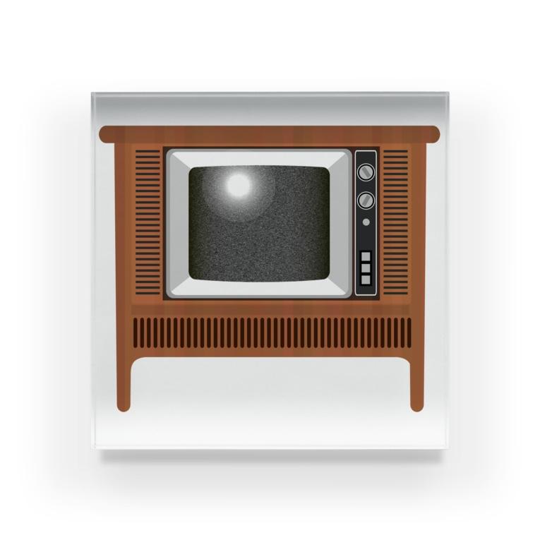 illust_designs_labのレトロでリアルなオーディオテレビのイラスト 砂嵐ノイズの画面 脚付き  Acrylic Block