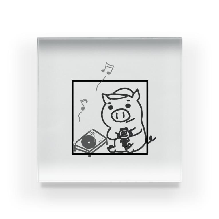 なりぶーのブタ公とレコード Acrylic Block