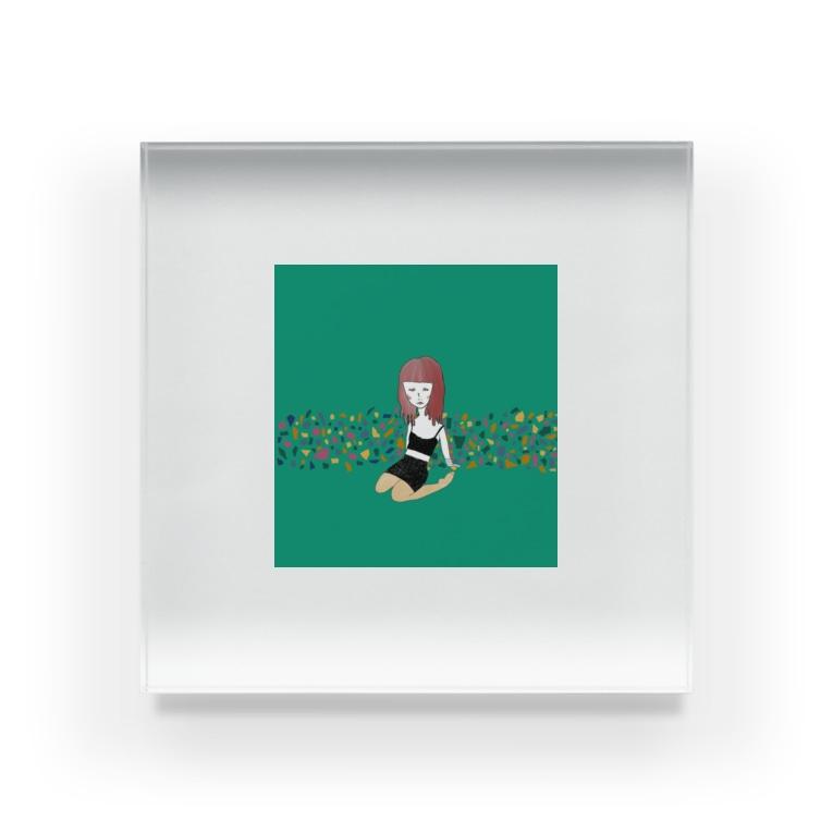 Moyaの緑の女の子 Acrylic Block