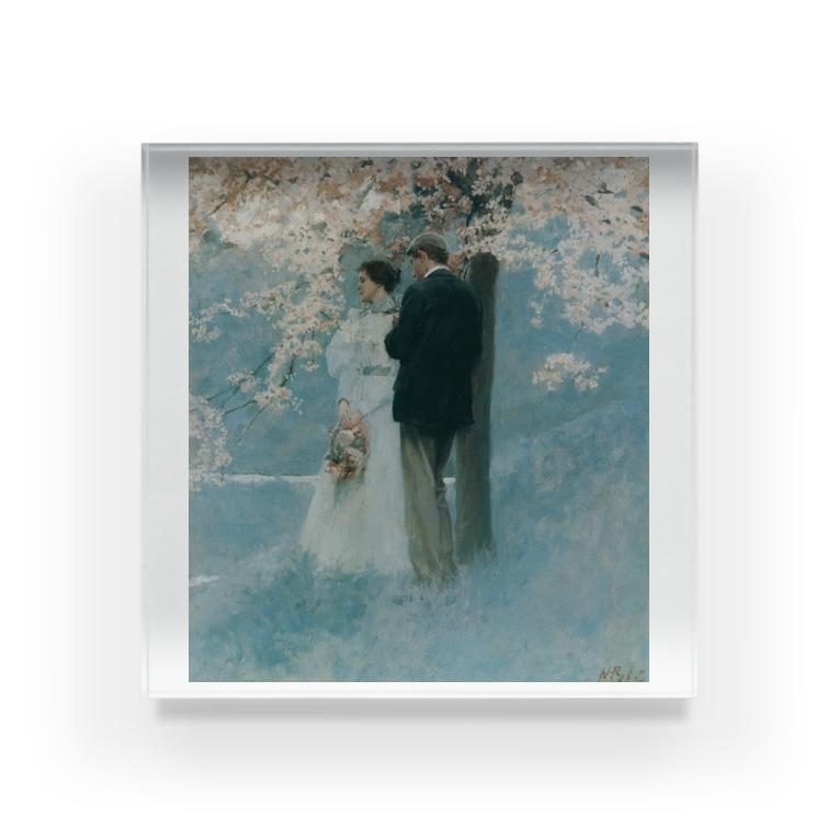 世界の絵画アートグッズのハワード・パイル 《春・桜の木の下で》 Acrylic Block