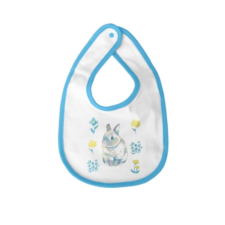 Usagi Kawaiiのお花とうさぎさん Baby bibs