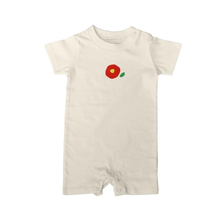 kozukuzuの椿(赤) Baby Rompers