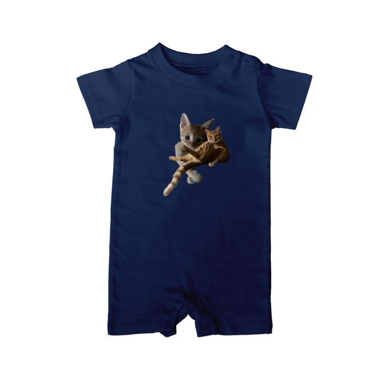 猫ねこネコ!チャム&シロのチャム&チャム Baby rompers