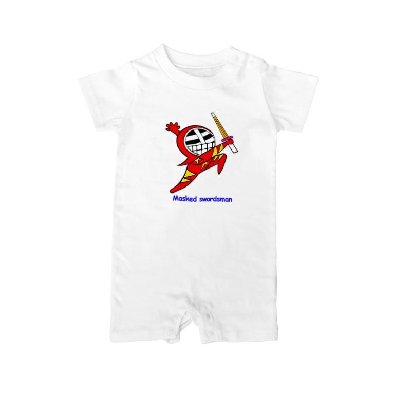 剣道グッズ 覆面剣士マスクドスウォーズマン 剣道Tシャツのマスクド・レッド Baby rompers