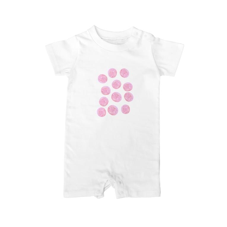 水草のピンク玉いっぱい Baby rompers