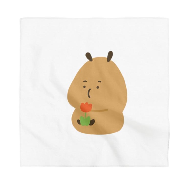 HappyPochetteのCapybara「Pokke」赤チューリップ Bandana