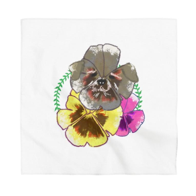 おもしろTシャツ屋(oko)jのパンジーにかくれんぼシュナウザー。 Bandana