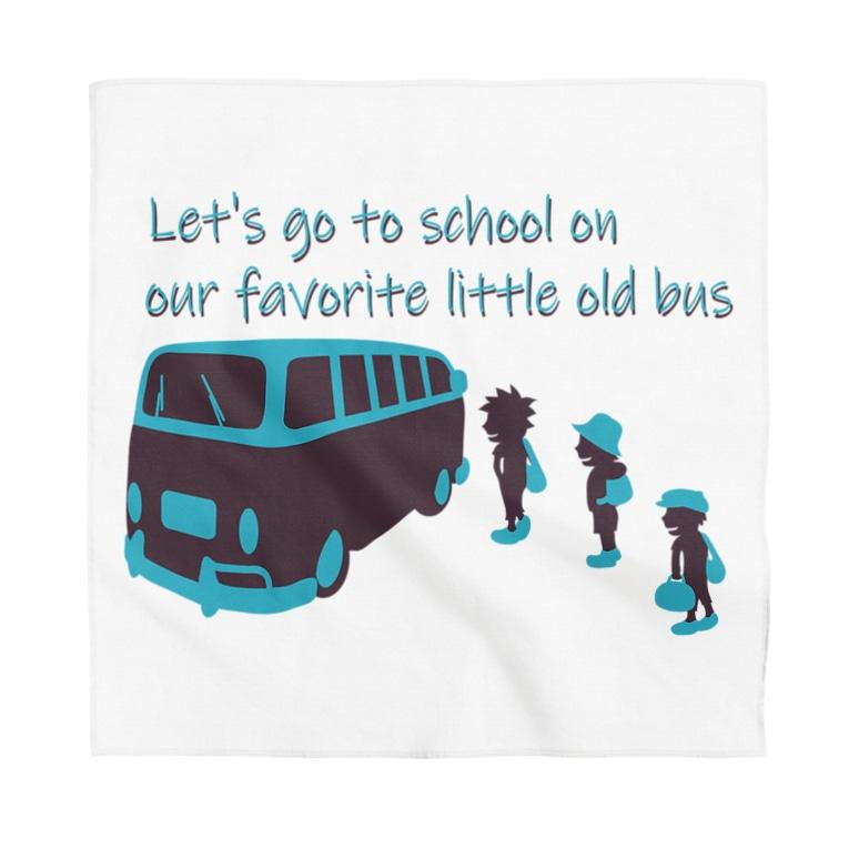キッズモード某のスクールバスと少年たち チョコミントカラーVr Bandana