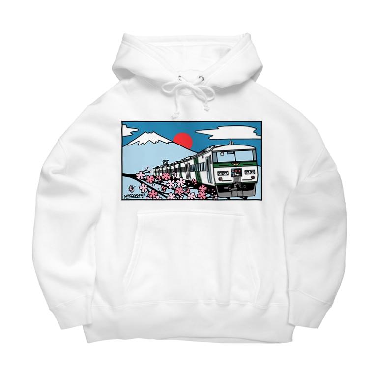 YASCORN(やすこーん)鉄道の「踊り子」185系と富士山、桜 イラスト Big Hoodies