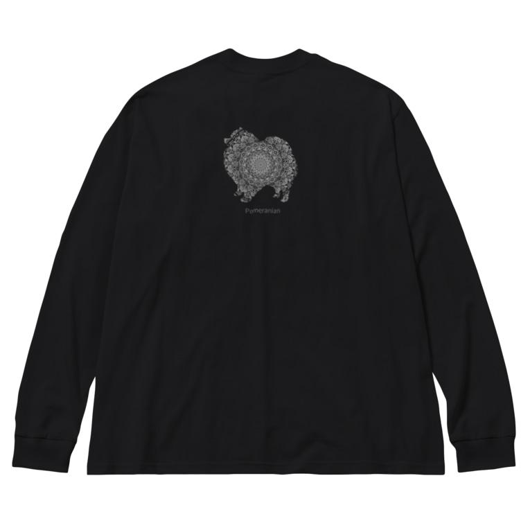 AtelierBoopの花月 ポメラニアン Big silhouette long sleeve T-shirts