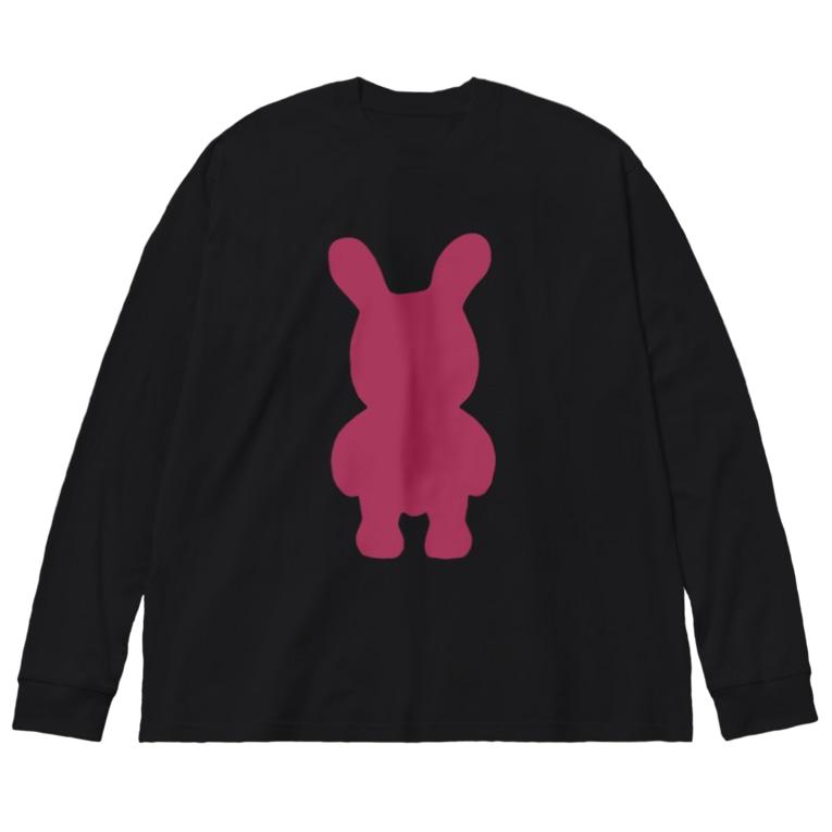 ピンクうさぎのたぶんセーフ Big silhouette long sleeve T-shirts