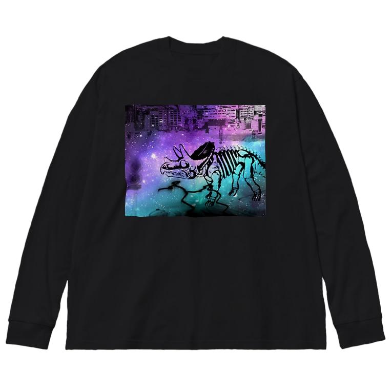 tottoの街と恐竜(パープル) Big silhouette long sleeve T-shirts