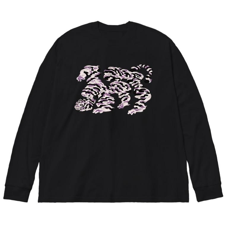 ぱいせんのtiger雲 Big silhouette long sleeve T-shirts