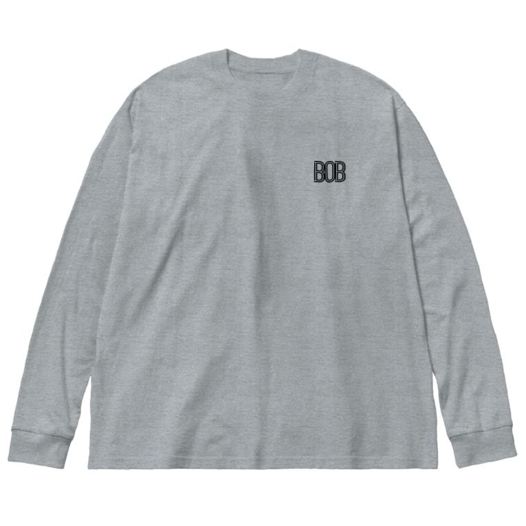 musicshop BOBの808 - BOB ※BLACK LOGO Big silhouette long sleeve T-shirts